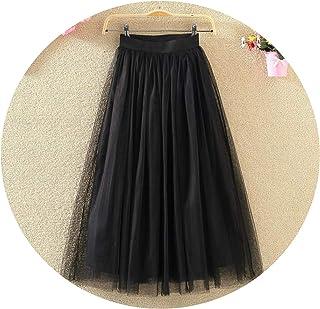 7afb3ead6 Vintage Skirts Womens Elastic High Waist Tulle Mesh Skirt Long Pleated Tutu  Skirt Jupe Longue