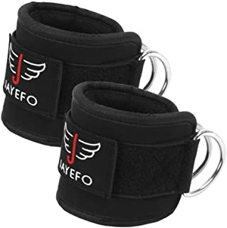Jayefo Ankle Straps Padded for Cable Machine Attachment Leg Kickback Pulley Workout{Pair}. Ankle Cuffs for Hips, Hamstring...