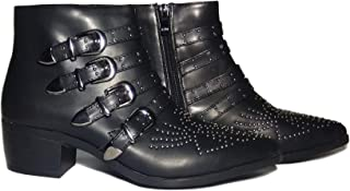 Shoes Etc Women's Lightweight, Comfortable, Casual, Black Synthetic Leather Gothic Studded Buckle Strap High Ankle Zip Up Biker Boots