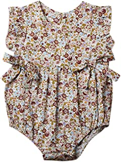Mornbaby Baby Girls Sleeveless Butterfly Bow Ruffled Hollow One-Piece Romper Bodysuit