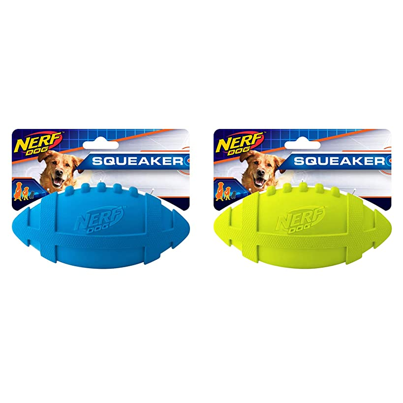 Nerf Dog 2-Pack 7in Rubber Squeaky Football Dog Toy, Blue and Green