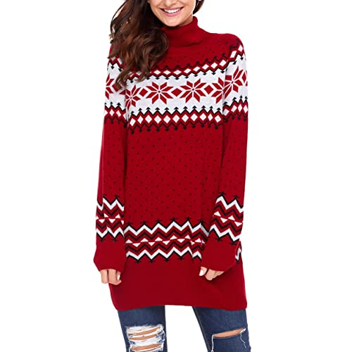 06f4d4e3258331 Dearlovers Womens Long Sleeve Snowflake Knit Turtleneck Jumper Long Ugly  Christmas Sweater Tops