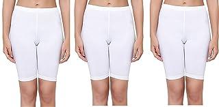 fasla Women's Cotton Lycra Cycling Short Yoga Shorts-Pack of 3