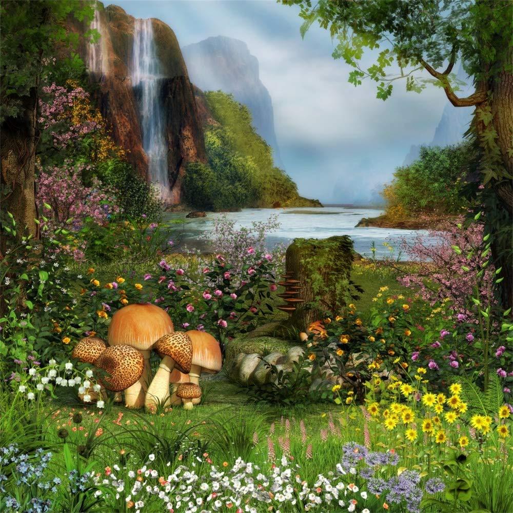 YongFoto 2x2m Vinilo Fondo de Fotografia Jardín de Hadas Encantado Bosque Seta Montaña Corriente Cascada Telón de Fondo Photo Booth Infantil Party Niños Photo Studio Props: Amazon.es: Electrónica