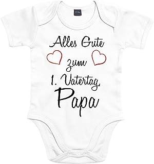 Mister Merchandise Mister Merchandise Baby Body Alles gute zum ersten Vatertag, Papa Strampler liebevoll bedruckt Glückwunsch Weiß, 3-6