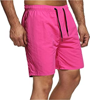 Men's Solid Color Casual Sports Summer Quick Dry Workout Running or Gym Training Short with Zipper Pockets Multiple Styles...
