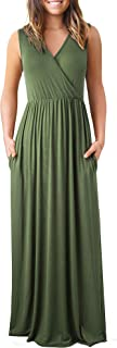 HOMEYEE Women V Neck Loose Casual Long Maxi Dresses with Pockets A162