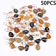 50PCS Angel RockImpact Inspirational Stones Key Chains, Guardian Angel Wholesale Lot, Engraved Natural River Rock Angel Stone Key Rings Keychains, Healing Stone Keychain (50 Pieces, Angel)