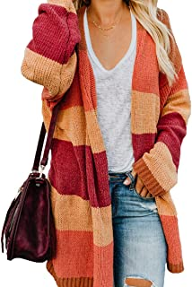 Women's Striped Long Sleeve Open Front Knit Cardigan Casual Pullover Sweater