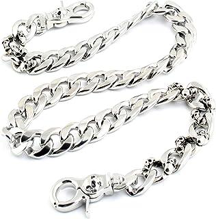 """DoubleK Strong Skull Spike Key Jean Wallet Chain (27.5""""/8.1oz) SLV/BLK CS119"""