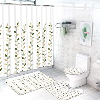 Ikfashoni 4Pcs Leaves Shower Curtain Sets with Non-Slip Rug, Toilet Lid Cover, Bath Mat and 12 Hooks, Plant Botanical Bathroom Curtains, Waterproof Fabric Shower Curtain for Bathroom