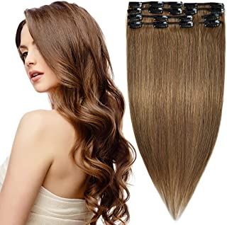 Modernfairy Hair Real Human Hair Extensions Clip in Full Head Thick Straight Remy Hair Extensions for Women 8Pcs 18 Clips 20