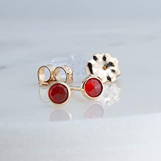 Carnelian Faceted Tiny 3mm Stone with 14K Gold Filled Stud Earrings