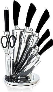 KAMBERG - 8131 - Bloc couteaux 8 pcs en Acier Inoxydable - Support Acrylique - Couteaux de cuisine - Noir