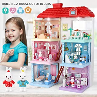 Block Dollhouse family with furniture 6 Lovely Scenes Assembled Toy with Music and Lights for Kids, Building Block dollhouse with 3 floors Assemble Villa , Compatible with All Blocks of The Same Size