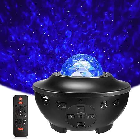 LED Projecteur Étoile, Delicacy Lampe Projecteur de Rotatif Nuage, Veilleuses Télécommandées, Lecteur Musique à Couleurs Changeantes avec Bluetooth et Minuterie,Décoration/Cadeau/Enfants/Adultes, Noir