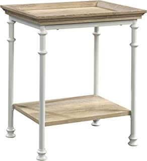 Sauder 423258 Canal Street Side Table, White & Coastal Oak Finish