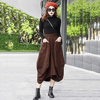 JYDQM Plus Size Vintage Irregolare Abbigliamento in Vita Alta Autunno Inverno Casual Sciolto Gonne Lunghe Gonne da Donna G...