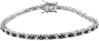 Blue and White Topaz Tennis Bracelet in Sterling Silver - 7 Inches