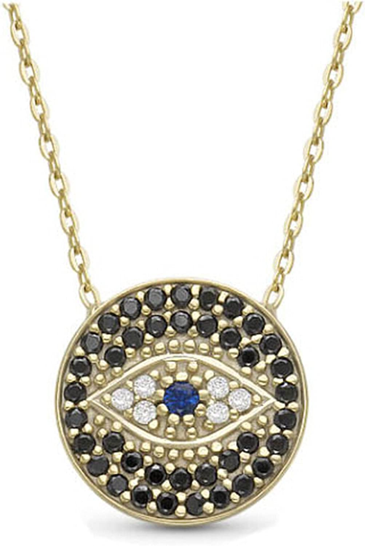 WIIPU women Rhinestone Coin Evil Eye Good Luck Protection necklace(N342)
