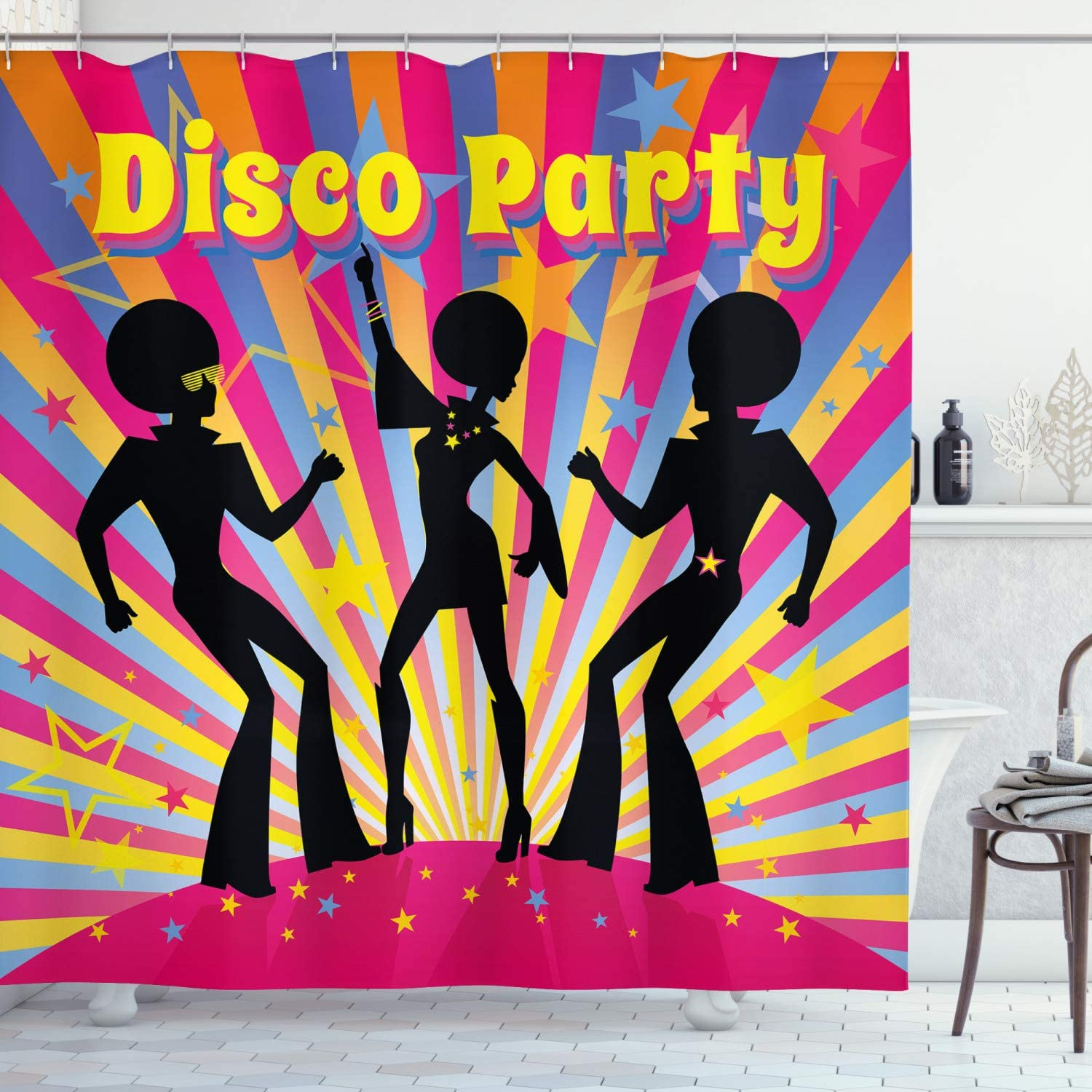 Ambesonne 70s Party Shower Curtain Dancing People Silhouettes Afro Hair Disco And Funky Display Print Cloth Fabric Bathroom Decor Set With Hooks 70 Long Multicolor Home Kitchen Amazon Com