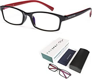 PROSPEK Premium Computer Glasses - Professional - Blue Light Blocking (No Magnification), Regular Size, Red and Black