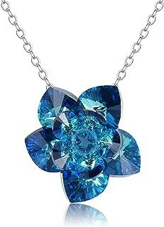 Lotus Flower Pendant Necklace Handmade with Swarovski Aurora Crystals&Beads,Blue Love Heart Gemstones Jewelry for Women