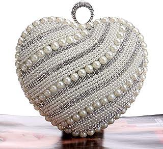 Handbags - High-end Heart-shaped Diamond Handbag, Vintage Luxury Ladies' Banquet Dinner Bag, Gold/silver/black, 16x8x15CM Shining (Color : Silver)
