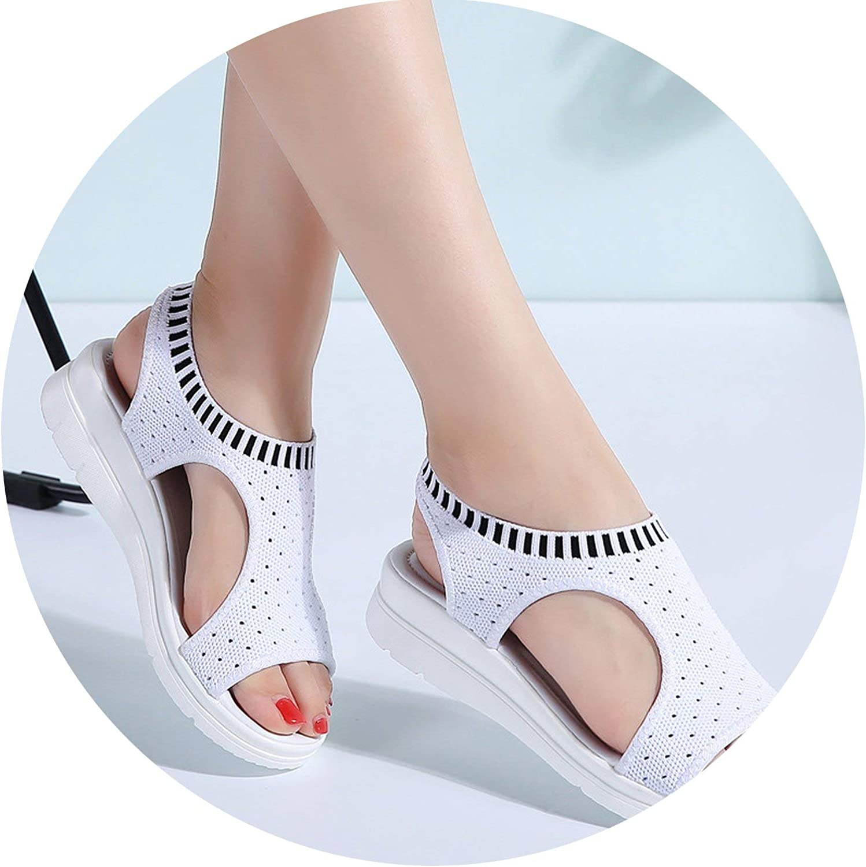 HANBINGPO Women Sandals 2019 New Female shoes Woman Summer Wedge Comfortable Sandals Ladies Slip-on Flat Sandals Women Sandalias,White,7.5
