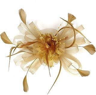 Fascinator Hat Feather Mesh Net Velo Party Hat Ascot Cappelli Flower Derby Hat con Clip e Fascia per Le Donne