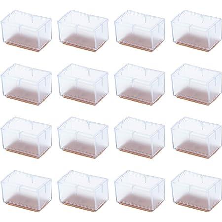 16 tazas de patas de silla, antideslizantes de PVC transparente rectangular para patas de mesa, cubiertas de pies, almohadillas protectoras de suelo para anti arañazos
