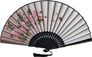 FANSOF.FANS Ink Art Handfächer, faltbar, mit Stoffbeutel, für Frauen und Mädchen, Schwarz und Weiß mit Silberausbesserung, langlebiger faltbarer Stoff-Handfächer