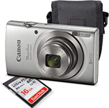 Canon PowerShot ELPH 180 Digital Camera (Silver) + 16GB SDHC Memory Card + Protective Camera case