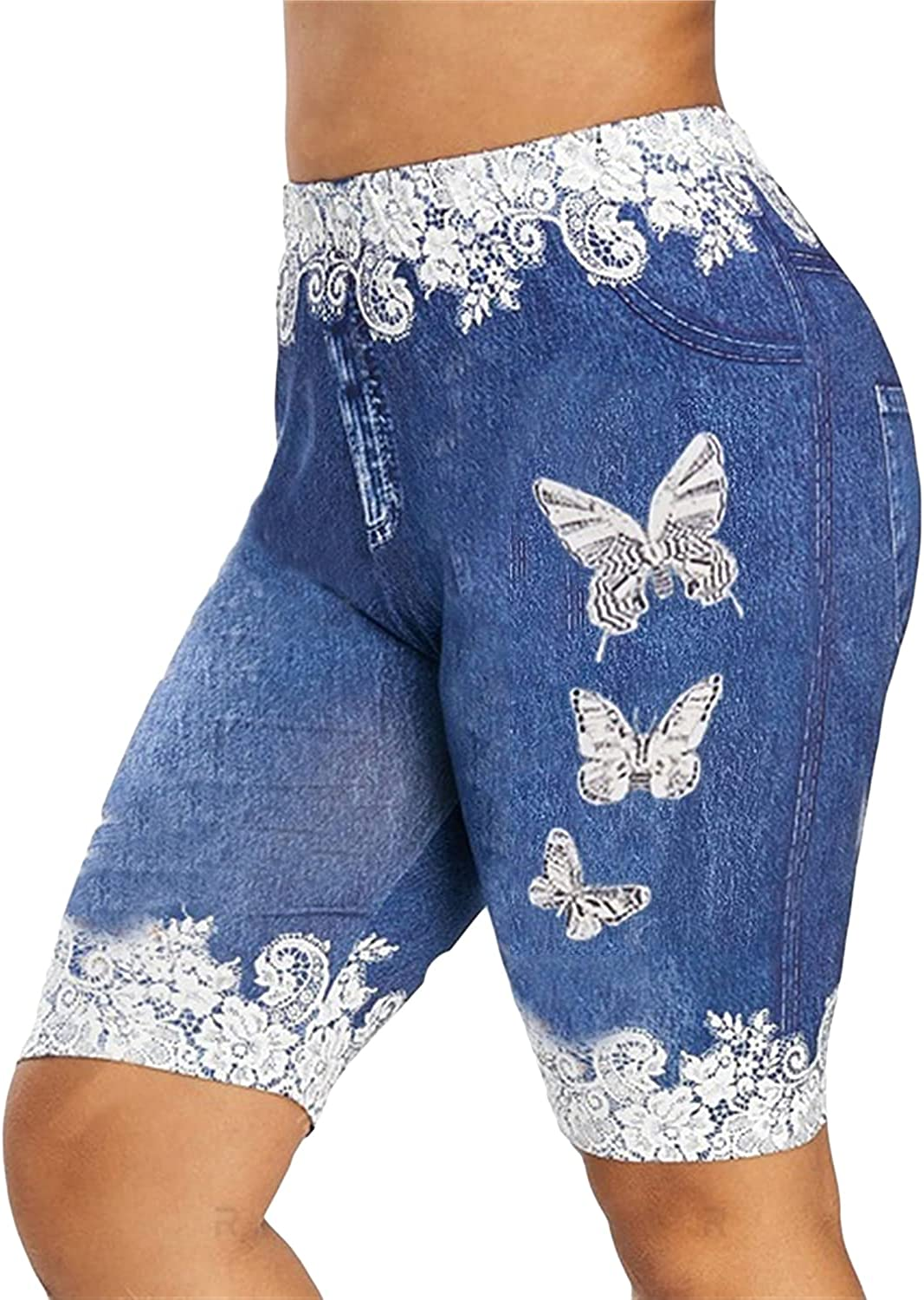 Women's Butterfly Print Short Max 66% OFF Jeans Bermuda Je Today's only Knee Length