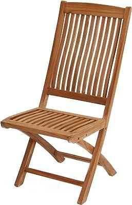 Ploß Klappstuhl ohne Lehne Arlington - Premium Teakholz-Stuhl mit FSC-Zertifikat - Terrassenstuhl klappbar - Holz-Gartenstuhl Braun - Gartenstuhl ohne Armlehnen - Balkonstuhl ergonomisch geformt