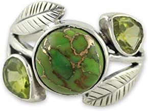 NOVICA Composite Green and Golden Turquoise .925 Sterling Silver Ring, Green Ivy'