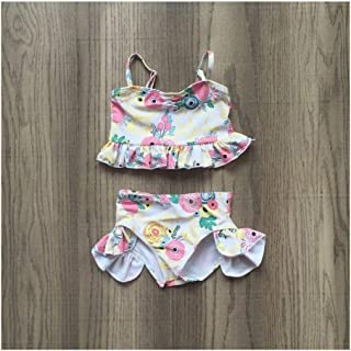 Toddler Little Baby Baby Girls Toddler Yellow and Pink Short Set Toddler Girls Summer Swimsuit Outfits Sets Floral Summer Swimsuit Sets,Comfy for All Day wear (Color : Multi-Colored, Kid Size : 5)