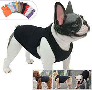 Lovelonglong 2019 Summer Pet Clothing, Dog Clothes Blank T-Shirts Ribbed Tanks Top Thread Vests for Bulldog Large Medium Small Dogs 100% Cotton