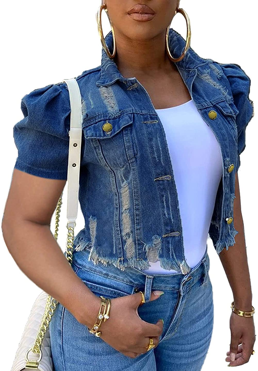 PAODIKUAI Women's Casual Puff Sleeve Frayed Slim Cropped Denim Jean Jacket