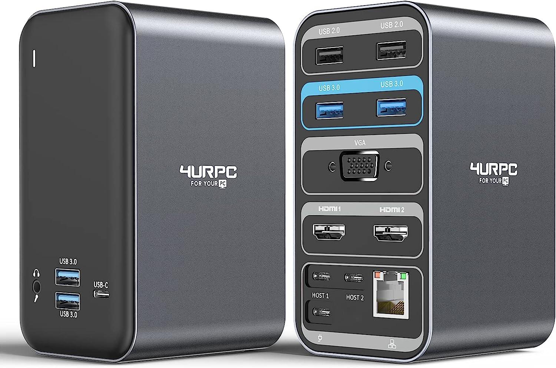 4URPC USB C Docking Station Dual Monitor for MacBook Pro(Non-M1), 13-in-2 Triple Display USB C Laptop Docking Station for MacBook Pro Air - 2X 4K HDMI, VGA, 6 USB, RJ45 Ethernet