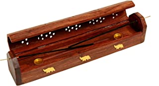 Christmas Thanksgiving Gifts Wooden Coffin Incense Sticks Cone Burner Holder Stand with Storage Compartment Ash Catcher Hand Carved with Elephant Brass Inlay