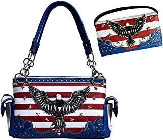 Western USA Stars and Stripes American Eagle Concealed Carry Purse & Wallet Set