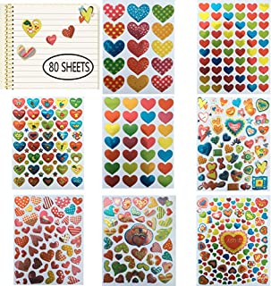 Valentines Heart Stickers 80 Sheets Valentine's Day Love Decorative Stickers for Anniversaries Party Wedding Scrapbooking or Embellishment (Colorful Heart)