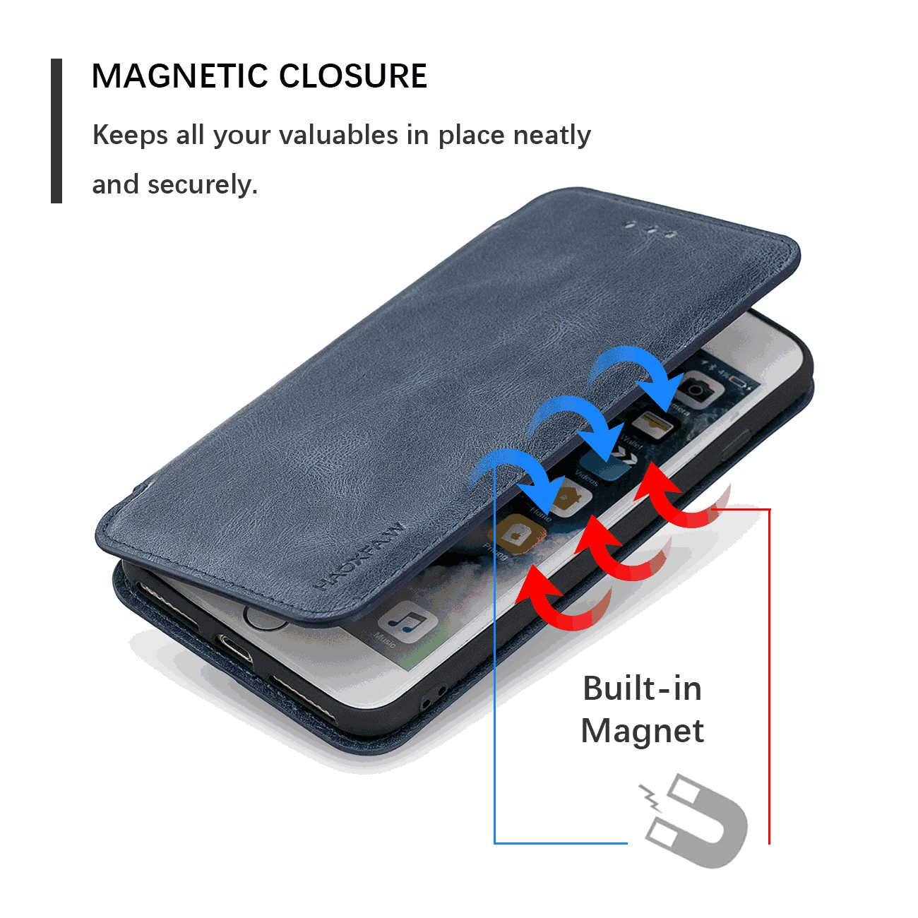 Blue PU Leather Wallet Flip Case for iPhone 11 Pro Positive Cover Compatible with iPhone 11 Pro