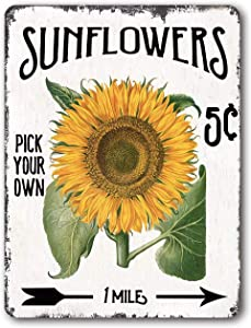 FESF Rustic Sunflower Metal Tin Sign- Sunflower Pick Your Own -Country Home Wall Decor for Garage Laundry Room Bathroom Bedroom Coffee Art Plaque