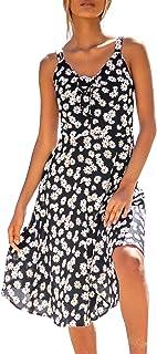 Women's Sweet Daisy V Neck Sleeveless Midi Dress