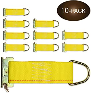 10-Pack E-Track Rope Tie-Offs 2 x 6 Yellow Rope Tieoff Cargo Tie-Downs w/ Etrack Spring Fittings for Load Securement Tiedo...