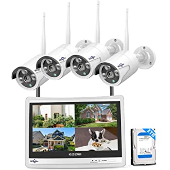 """Hiseeu [8CH Expandable] All in one with 12"""" LCD Monitor Wireless Security Camera System, Home Business 8CH 1080P NVR Kit 4pcs 2MP Outdoor Bullet IP Cameras Night Vision Waterproof,3TB Hard Drive"""