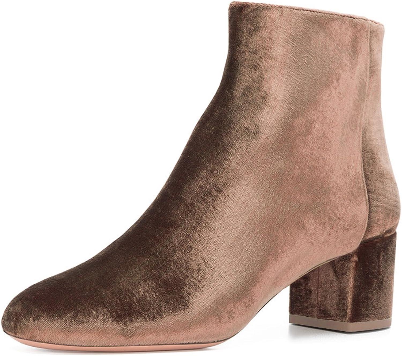 FSJ Women Round Toe Velvet Ankle Boots Block Heel Side Zipper shoes Comfort Size 4-15 US