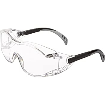 Gateway Safety 6980 Cover2 Safety Glasses Protective Eye Wear - Over-The-Glass (OTG), Clear Lens, Black Temple